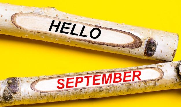 明るい黄色の背景に、helloseptemberという言葉が書かれた2本の明るい木製の鉛筆。