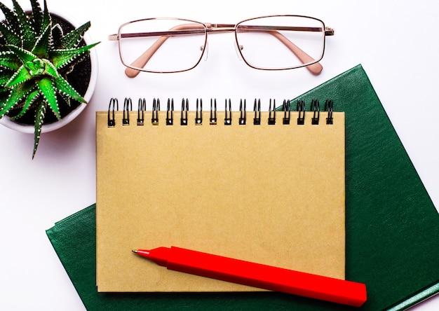 明るい背景に、金縁のメガネ、鉢植えの花、緑のノート、赤のペン、テキストを挿入する場所のあるクラフトノート。レンプレート。ビジネスコンセプト
