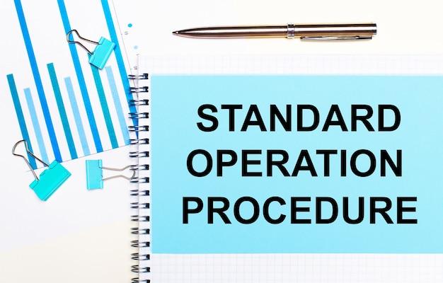На светлом фоне - голубые схемы, скрепки и лист бумаги с текстом стандартный порядок работы. вид сверху. бизнес-концепция