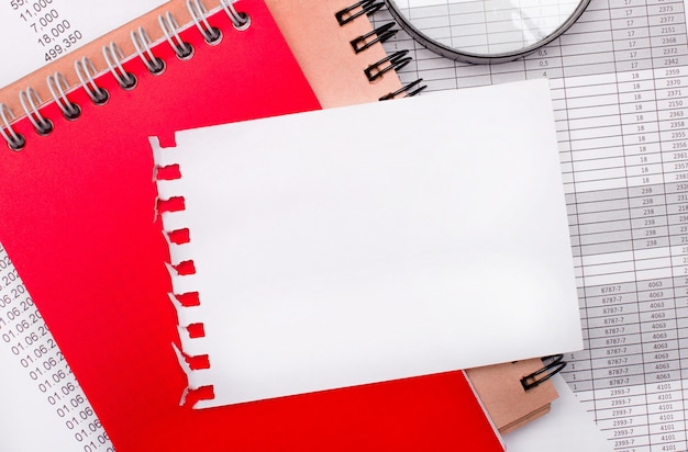 На светлом фоне - отчеты, увеличительное стекло, коричневый и красный блокноты, а также белый чистый блокнот с местом для вставки текста. бизнес-концепция