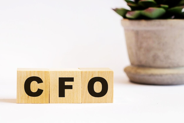 明るい背景に、cfoの最高財務責任者の碑文と鉢植えの花が描かれた木製の立方体。焦点ぼけ