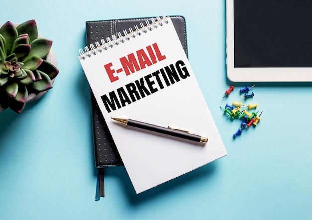 На голубом фоне - растение в горшке, планшет и еженедельник с текстом e-mail marketing.