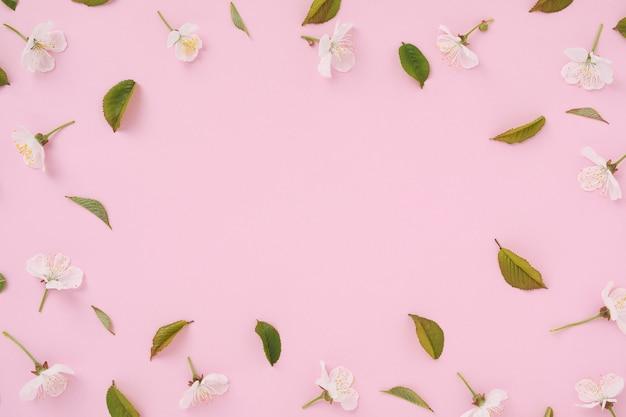 ピンクのトレンディな背景に、白い桜の花と緑の葉が最小限のパターンの形で、テキスト用のコピースペースと結婚記念日への招待状があります。モダンなミニマルフラットレイ。