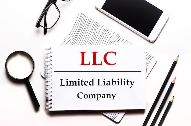 白い背景のメガネ、拡大鏡、鉛筆、スマートフォン、ノートにllc limited liabilitycompanyというテキストが表示されます