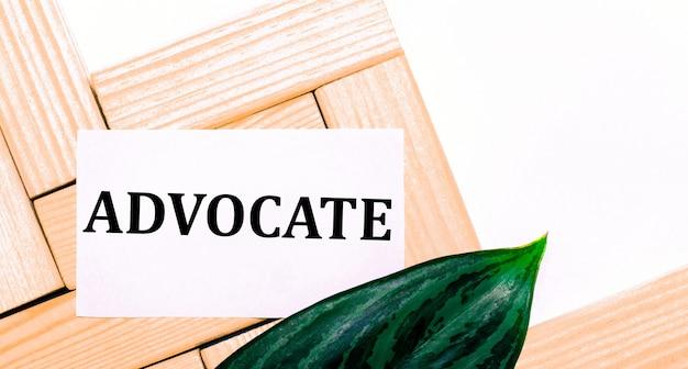 На белом фоне деревянные строительные блоки, белая карточка с текстом advocate и зеленый лист растения. шаблон. вид сверху