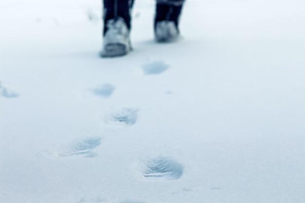 Зимним днем на снегу видны следы человеческих ног, вдали виднеются ступни, символ целеустремленности и движения вперед.
