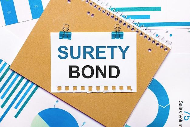 На рабочем столе синие и голубые графики и диаграммы, коричневый блокнот и лист бумаги с синими зажимами и текстом surety bonds. вид сверху. бизнес-концепция