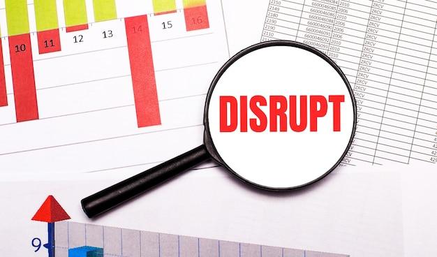 바탕 화면, 그래프, 보고서, disrupt라는 문구가있는 돋보기
