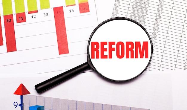 바탕 화면에는 그래프, 보고서, reform이라는 문구가있는 돋보기