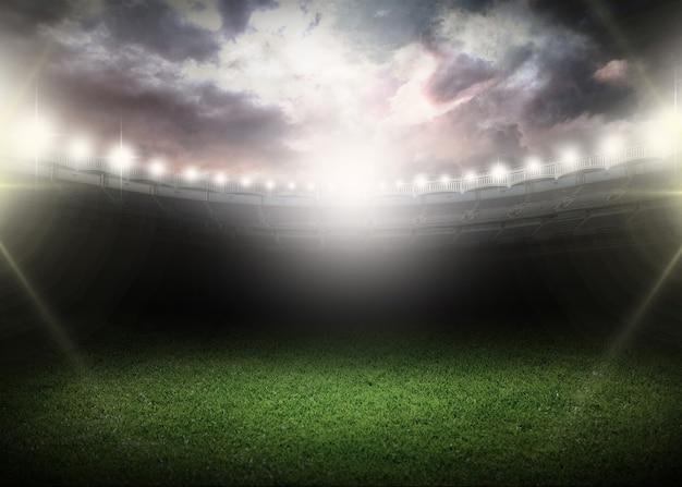 スタジアムで。抽象的なサッカーまたはサッカーの背景