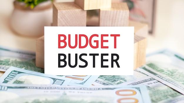 테이블에는 지폐, 달러 묶음 및 쓰여진 표시가 있습니다-budget buster