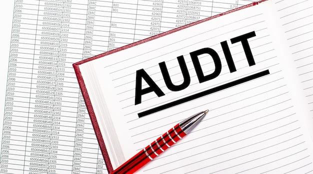 レポートの横のテーブルには、auditというテキストの日記があります。近くに赤いハンドルがあります