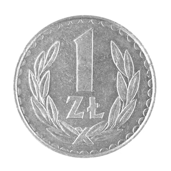 One 1 zloty polish money coin isolated on a white background photo
