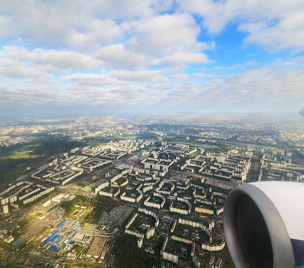 One of the areas of moscow and the moscow river. view from the airplane.