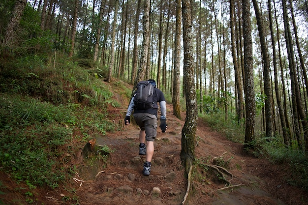 One backpacker man travel alone, with backpack in the mountains