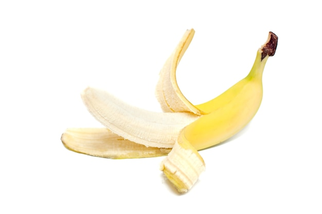 One banana on white background