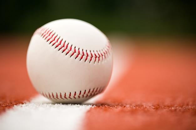 One baseball ball, close-up view