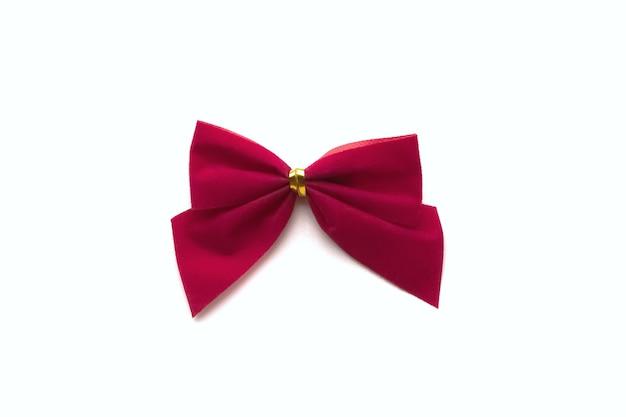 白い背景で隔離の1つの美しい赤い弓