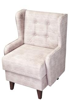 1つのベージュの椅子、布張りの布、クリッピングパスと白い背景で隔離。