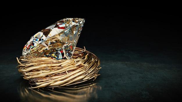Один большой алмаз в гнезде 3d-рендеринга