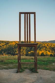 Один большой деревянный вырез красивый стул как аттракцион сказочный трон лесной королевы, стоящий в лесу без людей на улице. естественный фон. туристический кластер белокуриха 2
