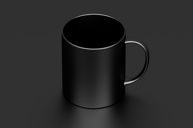 One black coffee mug cup with blank surface on black