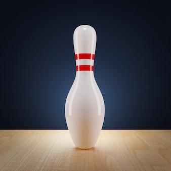 One bowling pin on bowling lane