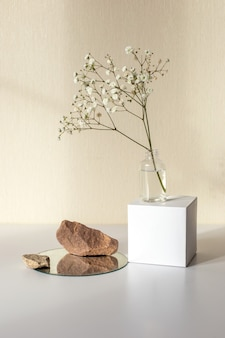 One branch of a white gypsophila flower standing on bottle on a white paper cube