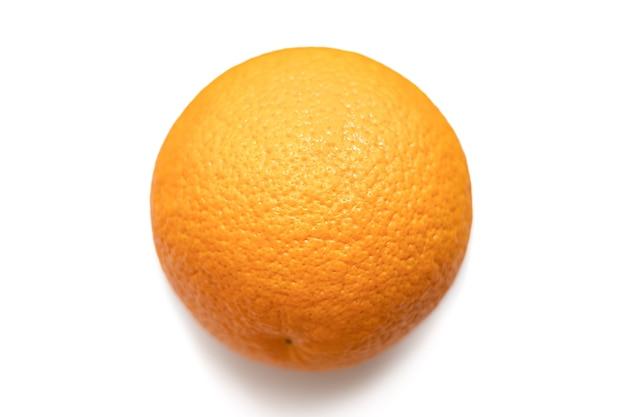 One bright fresh orange isolated on white background