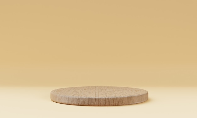 One brown wooden round cylinder product stage podium on orange background. minimal fashion theme. geometry exhibition stage mockup concept. 3d illustration rendering