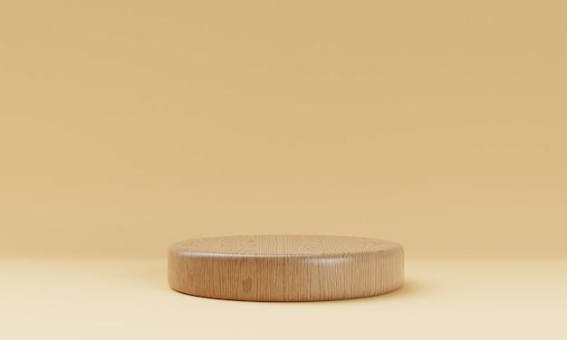 One brown wooden round cylinder product stage podium on orange background