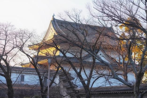 Одно здание в районе замка осаки с теплым освещением