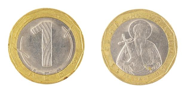 Одна монета болгарского лева на белом фоне фото