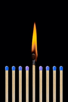 One burning match in a group of blue matches the concept of leadership the emergence of an idea
