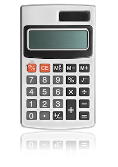白い背景の上の1つの計算機。