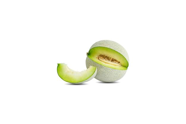 One cantaloupe or melon isolated on white background
