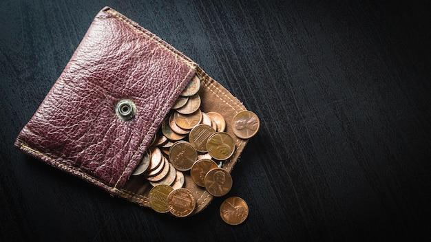 1 센트 동전은 지갑에서 흩어집니다