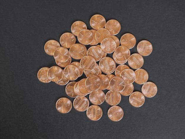 1센트 달러 동전, 복사 공간이 있는 미국