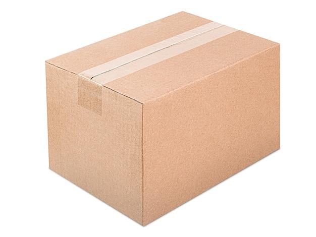 격리 된 흰색에 하나의 닫힌 골 판지 상자