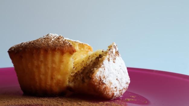 파란색 배경, 측면 보기에 분홍색 접시에 가루 설탕을 뿌린 두부. 디저트, 작은 컵케이크. 음식 개념입니다. 공기가 잘 통하는 질감의 흰색 구운 쿠키입니다. 복사 공간