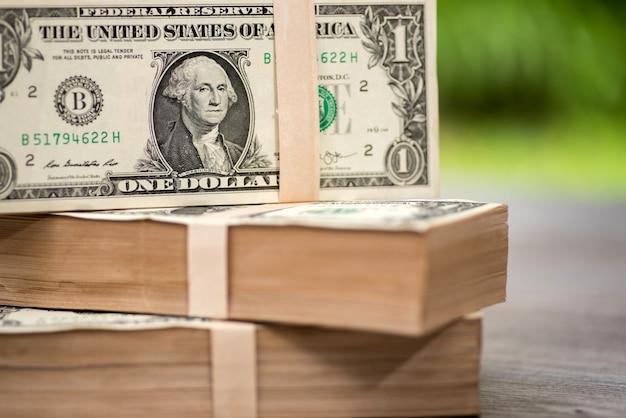 One dollar bills, one dollar detail close up