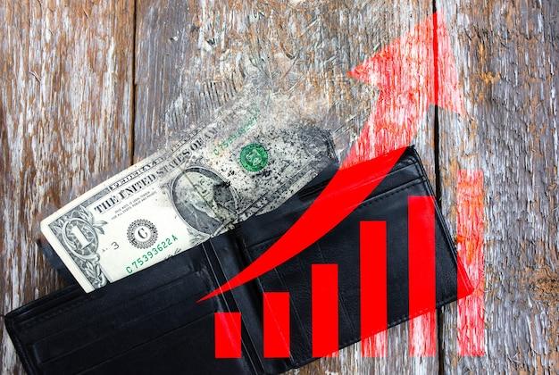 1달러는 빈 가죽 지갑에 누워 있습니다. 빨간색 화살표가 올라가고 있습니다. 환율 하락. 지갑에 돈이 없습니다. 빈곤과 실업. 오래 된 목조 소박한 배경입니다. 경제 성장.