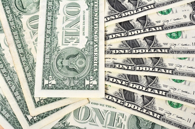 One dollars banknotes background