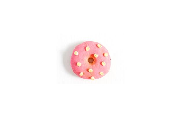 One donut. minimal flat lay.