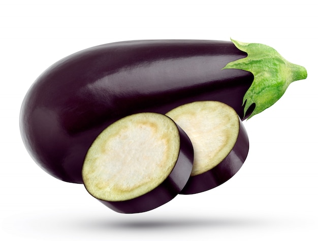 One eggplant and eggplant slices