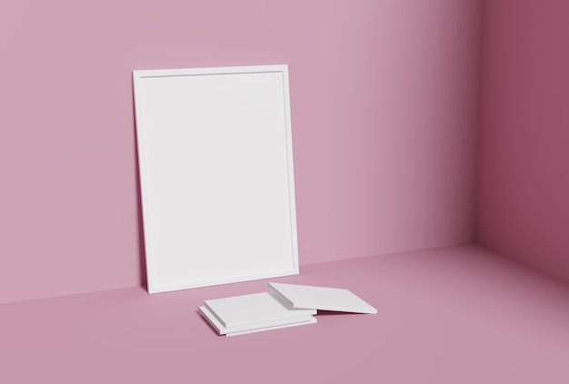 One empty photo frame and book