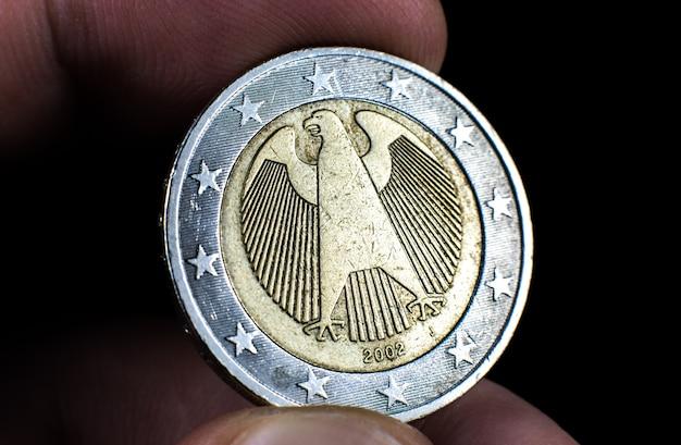 1 유로 사진을 닫습니다. 매크로 동전.