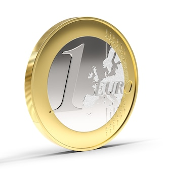 Монета один евро на белом фоне. 3d визуализация