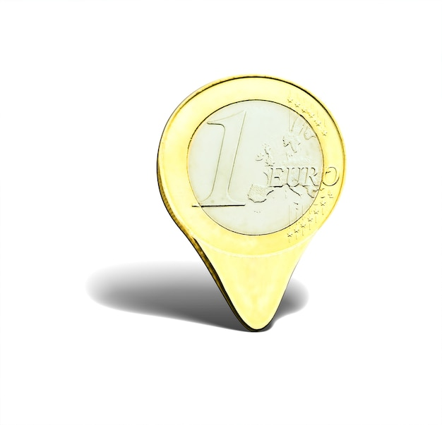 흰색 절연 1 유로 동전 포인터