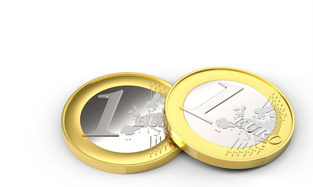 Монеты один евро на белом фоне. денежное понятие. 3d визуализация.